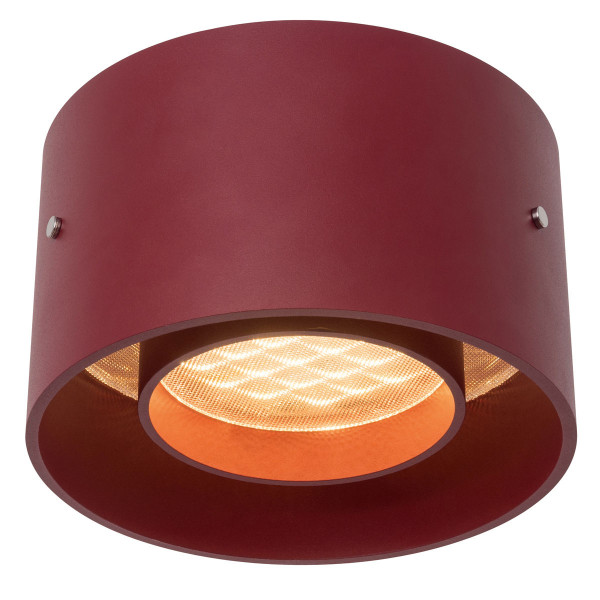 LED ceiling lamp TROFEO by Oligo - here the variant in surface matt red