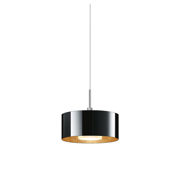 Pendant lamp CANTARA for the 230V track system DUOLARE from Bruck - here the version with glass black, inside coated with gold leaf, metal surface chrome