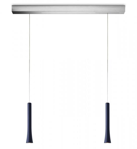LED pendant light RIO 2-flames from Oligo - here the variant with lamp head Atlantic blue