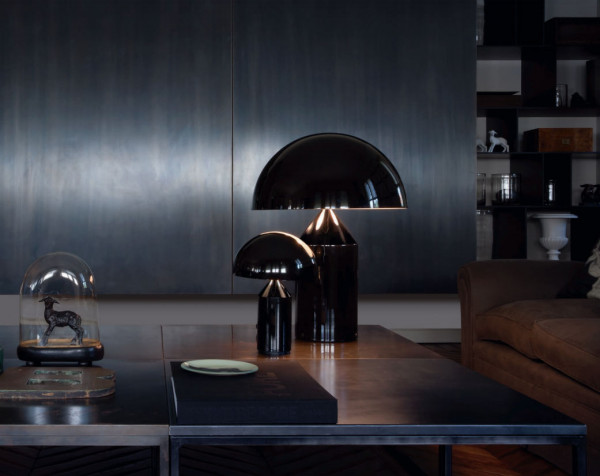 Table lamp Atollo by Oluce - here the versions made of metal with a black surface
