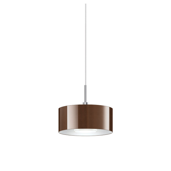 Pendant lamp CANTARA for the 230V rail system DUOLARE from Bruck - here the version with glass bronze, coated inside white, metal surface chrome