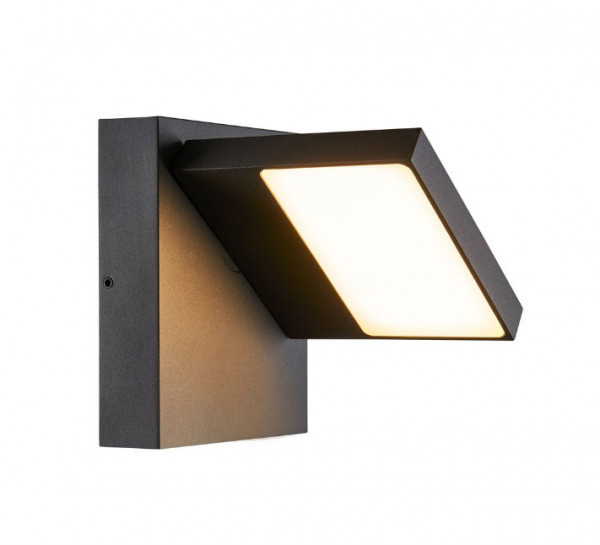 Rotatable wall spotlight for outdoor applications in anthracite surface with adjustable light color