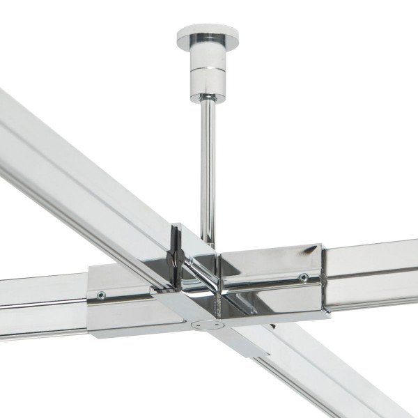 Check in rail carrier / X-coupling for the check In rail system by Oligo - here the variant 100mm in surface chrome