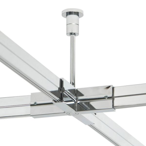 Check In Schienenträger / X-Kupplung für das Check In Schienensystem von Oligo - hier die Variante 100mm in Oberfläche chrom
