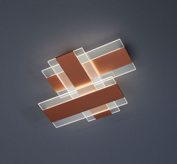 LED Ceiling light PLANUS from Escale - here the variant surface honed rose gold