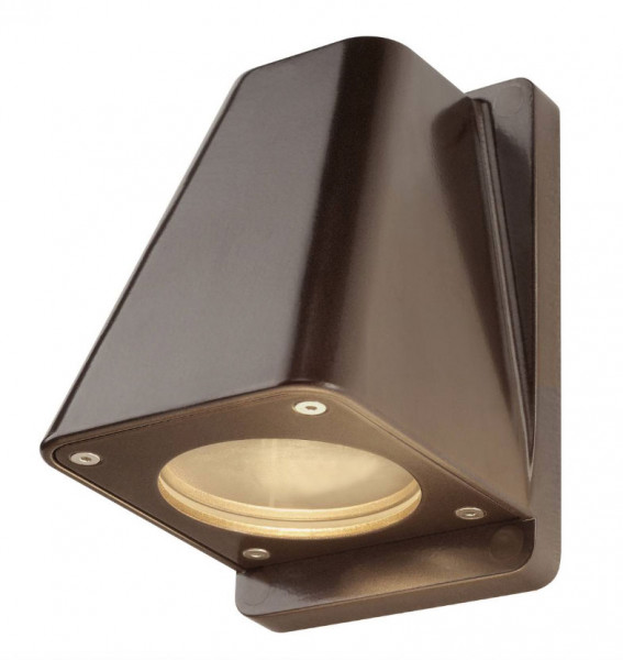 LED facade spotlight in bronze surface, one-sided emission for exchangeable GU10 / QPAR51 LED or halogen lamps