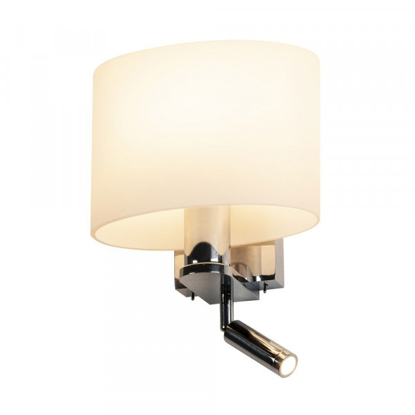 LED reading light with glass shade and alignable lamp head and 2 independently switchable light sources