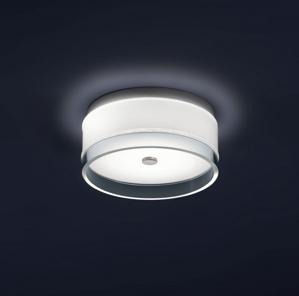 LED surface mounted luminaire made of opal glass with clear decorative edge - here version S