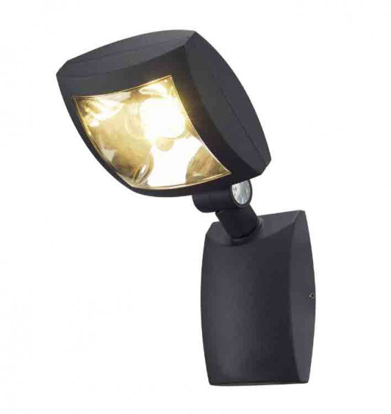 Swiveling and rotatable LED wall spotlight for outdoor applications with an anthracite surface