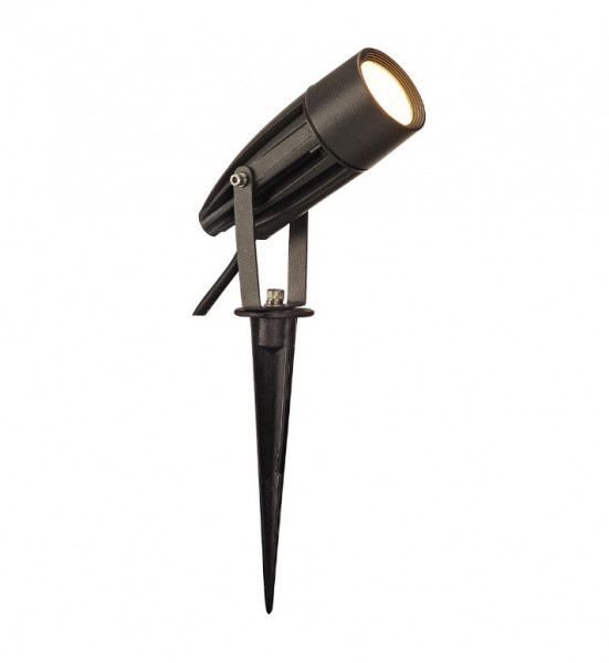 LED Spieß-Strahler (hier anthrazit) zur Beleuchtung von Pflanzen oder Bäumen, wahlweise in der Oberfläche grau, anthrazit, rot oder grün