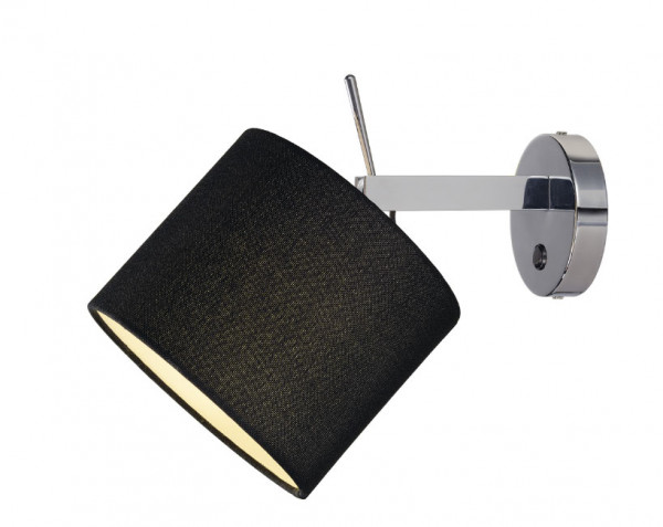 Reading lamp with fabric shade and alignable lamp head - here the variant with fabric in black