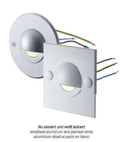 LED recessed wall light for direct connection to 230V. Installation on standard flush-mounted boxes or cavity wall boxes.