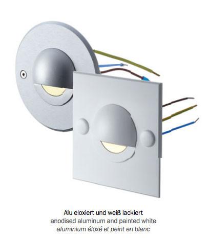 LED Wandeinbauleuchte zum direkten Anschluß an 230V. Montage auf Standard Unterputzdosen bzw. Hohlwanddosen.