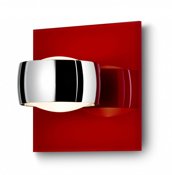 Glass panel for wall luminaire GRACE UNLIMITED in red - here for example with luminaire head in chrome