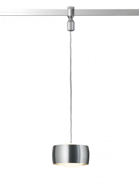 LED pendant luminaire GRACE for the rail system CHECK IN from Oligo - here the adapter adapter matt chrome, head brushed aluminum