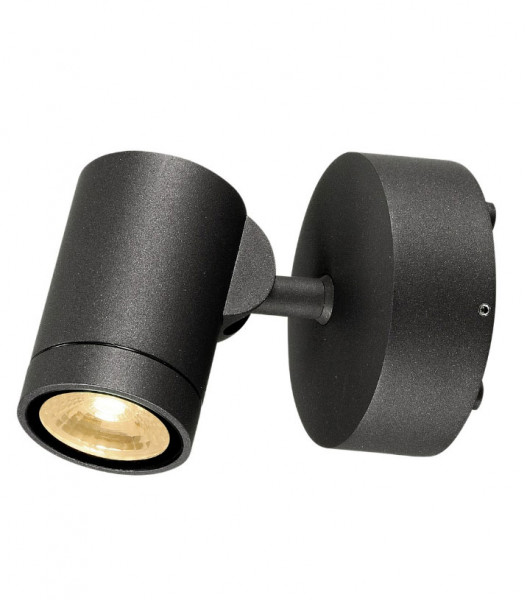 Swiveling and rotating wall and ceiling spotlights for outdoor applications with an anthracite surface