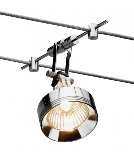 Cable system YPS luminaire for the LIGHT LINE cable system from Oligo - here the version in Chrome finish with special accessories Aluminum decorative ring