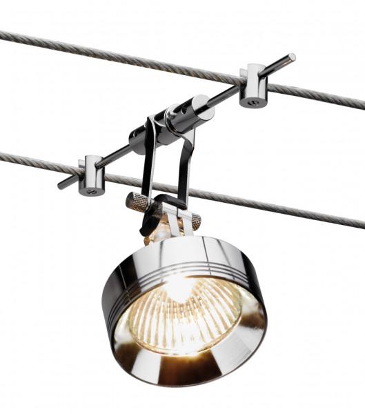 Seilsystem Leuchte YPS für das Seilsystem LIGHT LINE von Oligo - hier die Variante in Oberfläche chrom mit Sonderzubehör Alu-Zierring