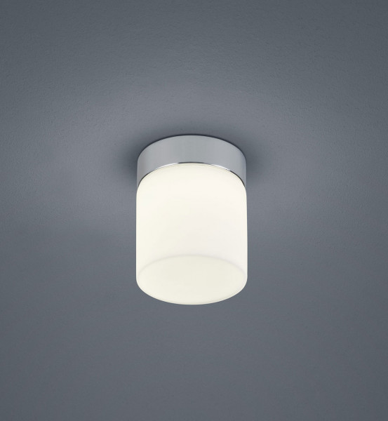 Cylindrical LED surface mounted luminaire with white glass. Thanks to protection class IP44 also very suitable for the bathroom and other wet rooms.