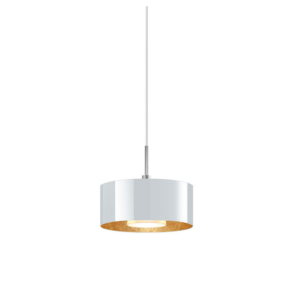 LED pendant light CANTARA glass 190 for the 230V track system DUOLARE from Bruck - here the version with glass outside white, inside gold leaf with the metal surface matt chrome