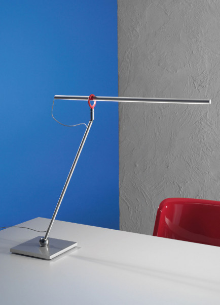 LED table lamp SLIMLINE by Escale with gesture control - here the variant brushed aluminum
