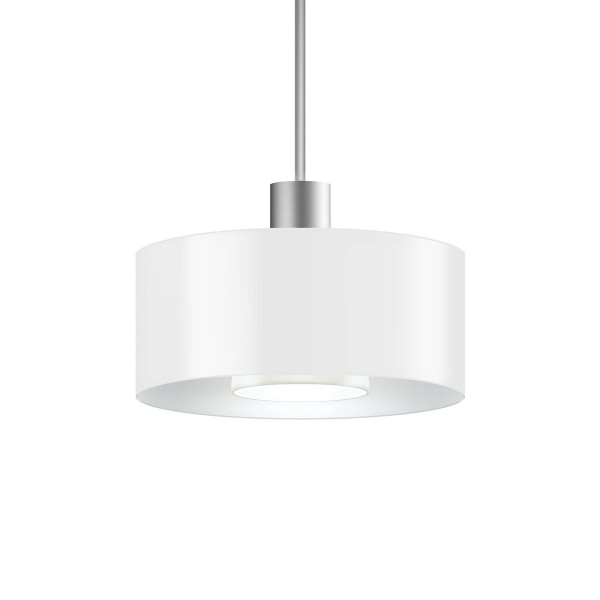 LED pendant light CANTARA metal 190 for the 230V track system DUOLARE from Bruck - here the variant with shade outside and inside white, metal surface matt chrome