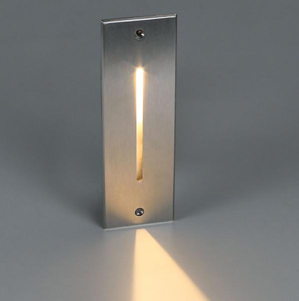 LED Wandeinbauleuchte in 24V Technik mit Abdeckung aus Edelstahl