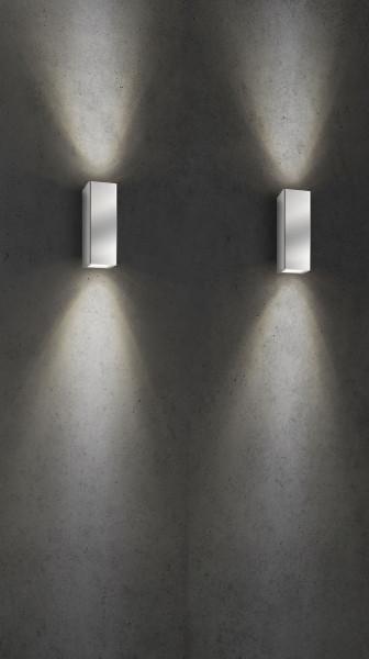 Fassadenstrahler aus Edelstahl doppelseitig abstrahlend für auswechselbare Retrofit-Leuchtmittel