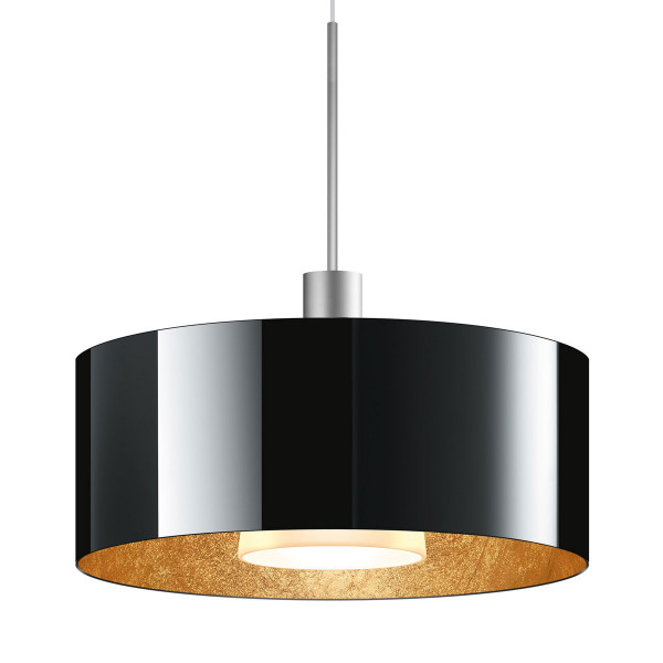 LED pendant light CANTARA glass 300 for the 230V track system DUOLARE from Bruck - here the variant with glass outside black, inside gold leaf with the metal surface matt chrome
