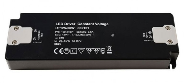 12V LED converter with constant output voltage, not dimmable, flat design