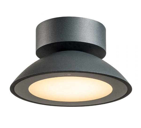 LED ceiling light in anthracite surface in an unusual, round design, suitable for balconies, canopies, garages and much more.