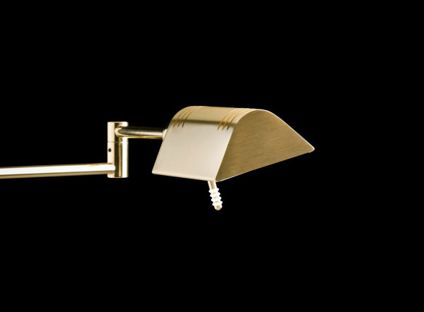 LED reading light by Holtkötter with articulated arm and touch dimmer - here the variant in surface brass