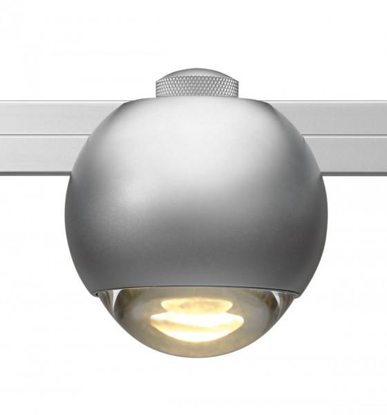 LED luminaire SPHERE for the rail system CHECK IN by Oligo - here the variant in surface matt chrome