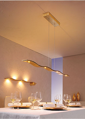LED pendant lamp FLUID by Escale - here the variant 143cm with 3x LED upwards and 4x LED down in the surface gold leaf