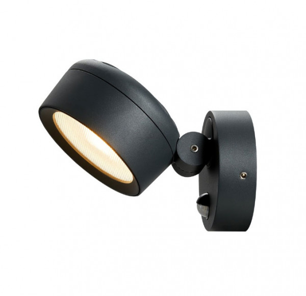 Pivoting and rotating LED facade spotlight in anthracite surface with infrared motion sensor