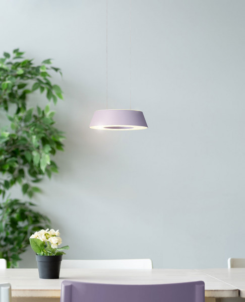 LED pendant luminaire GLANCE by Oligo with one luminaire head - here the variant in surface viola