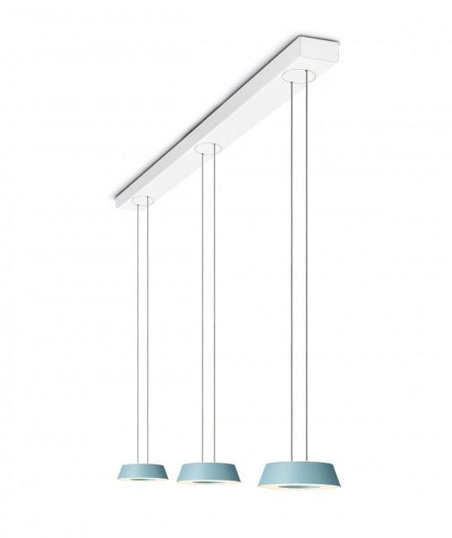 LED Pendelleuchte GLANCE von Oligo mit 3 Leuchtenköpfen - hier die Variante mit Korpusabdeckung Weiß matt, Köpfe Oberfläche Aquamarin