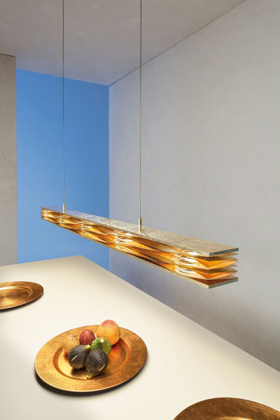 LED pendant light MILLE FEUILLES from Escale - here the variant in surface gold leaf