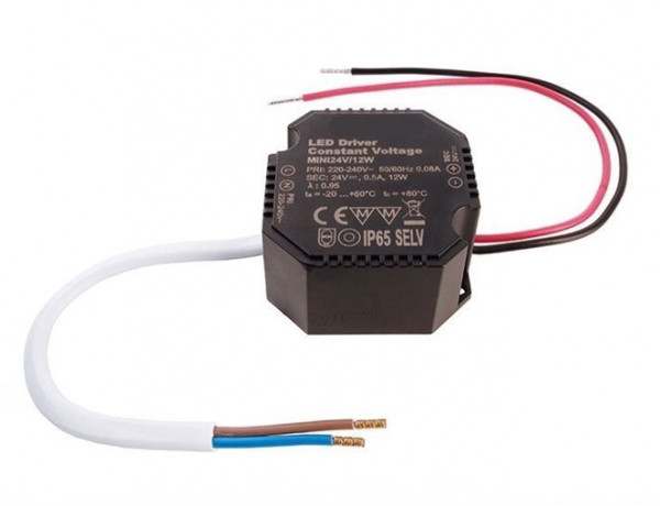 24V LED converter with constant output voltage, not dimmable, suitable for installation in flush-mounted boxes / cavity wall boxes