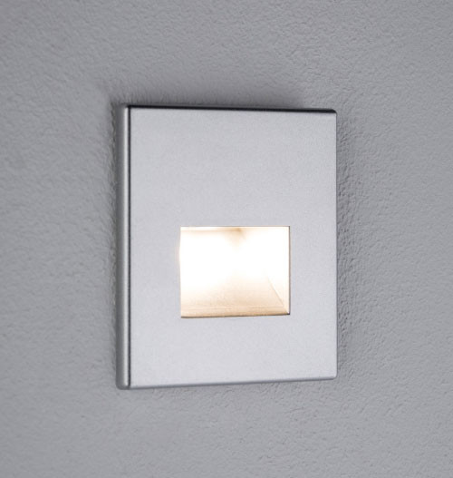 LED wall lamp as floor lighting, for lighting corridors, stairs and steps. Suitable for direct installation in cavity wall boxes