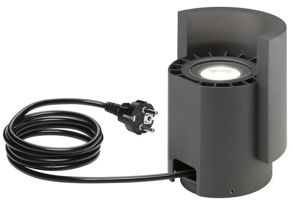 Mobiler LED Pflanzen- oder auch Objektstrahler mit Kabel und Stecker in Oberfläche graphit