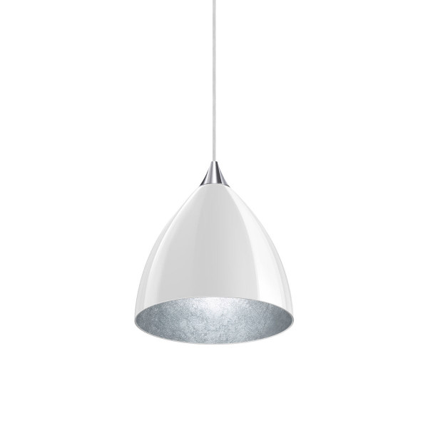Pendant luminaire SILVA 160 for the 230V DUOLARE track system by Bruck - here the variant with white glass, coated inside with silver leaf, metal surface chrome