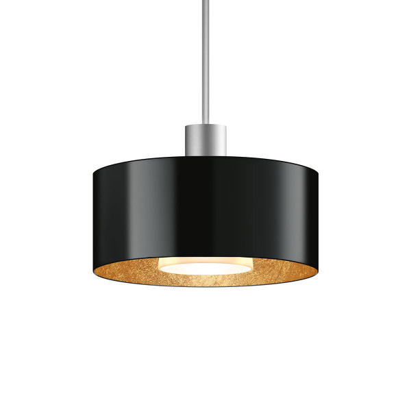 LED pendant light CANTARA metal 190 for the 230V track system DUOLARE from Bruck - here the variant with shade outside black, inside gold leaf with the metal surface matt chrome
