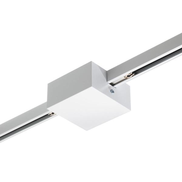 Mittel-Einspeisung für das 230V Schienensystem DUOLARE von Bruck - hier die Variante in Oberfläche weiß